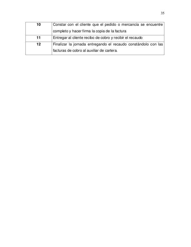 35 10  Constar con el cliente que el pedido o mercancía se encuentre completo y hacer firma la copia de la factura  11  En...