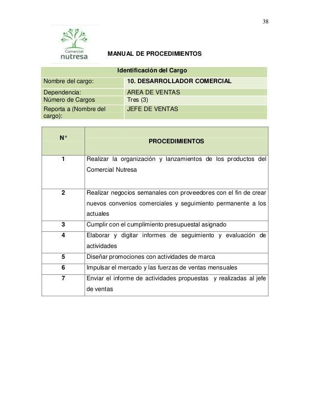 38  MANUAL DE PROCEDIMIENTOS Identificación del Cargo Nombre del cargo:  10. DESARROLLADOR COMERCIAL  Dependencia: Número ...