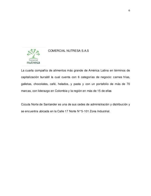 6  COMERCIAL NUTRESA S.A.S  La cuarta compañía de alimentos más grande de América Latina en términos de capitalización bur...