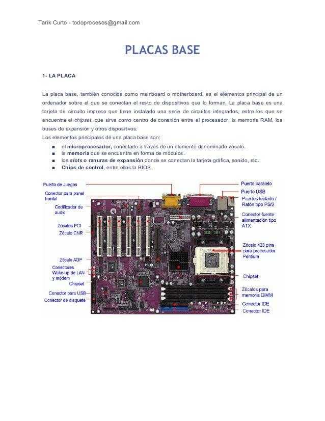 Tarik Curto - todoprocesos@gmail.com  PLACAS BASE 1- LA PLACA  La placa base, también conocida como mainboard o motherboar...