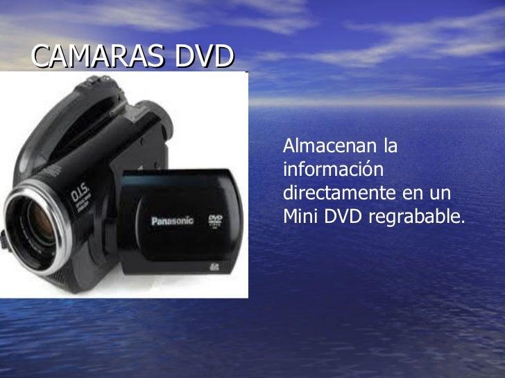 CAMARAS DVD Almacenan la información directamente en un Mini DVD regrabable .