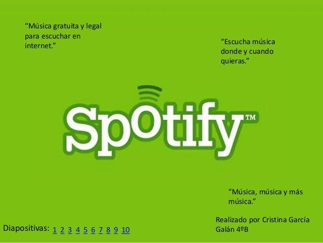"""Diapositivas: 1 2 """"Música gratuita y legal para escuchar en internet."""" """"Escucha música donde y cuando quieras."""" """"Música, m..."""