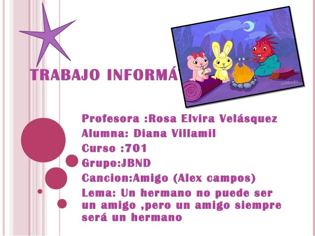 TRABAJO INFORMÁTICA     Profesora :Rosa Elvira Velásquez     Alumna: Diana Villamil     Curso :701     Grupo:JBND     Canc...