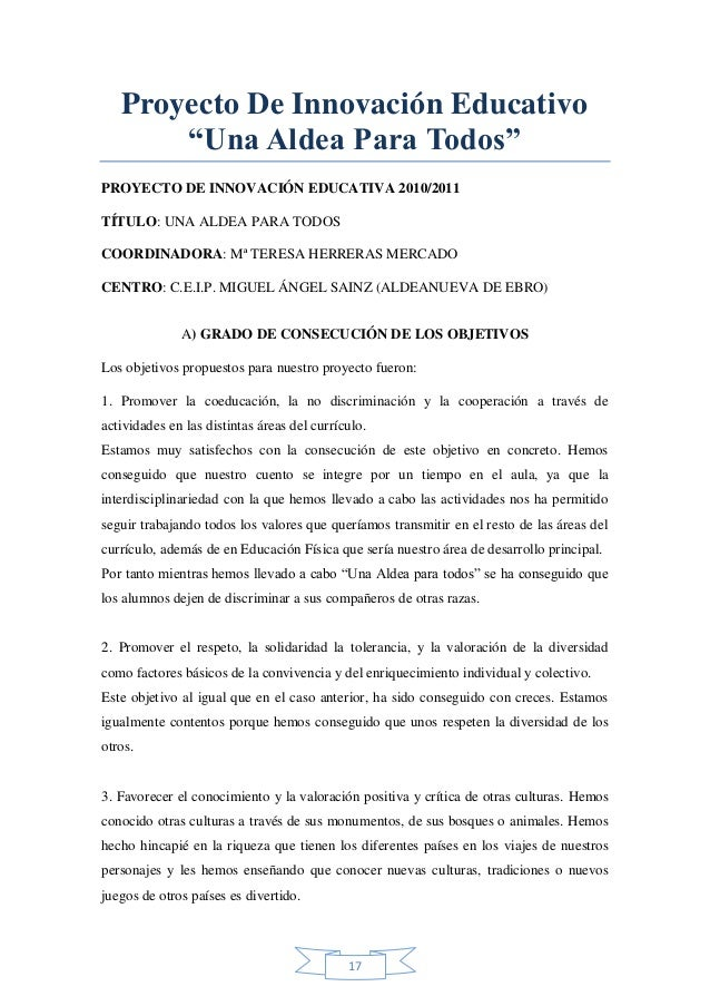 """Proyecto De Innovación Educativo """"Una Aldea Para Todos"""" PROYECTO DE INNOVACIÓN EDUCATIVA 2010/2011 TÍTULO: UNA ALDEA PARA ..."""