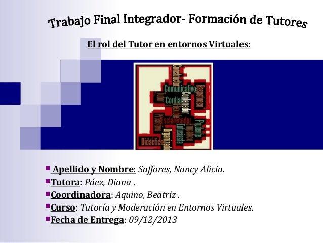El rol del Tutor en entornos Virtuales:  Apellido y Nombre: Saffores, Nancy Alicia. Tutora: Páez, Diana . Coordinadora: ...