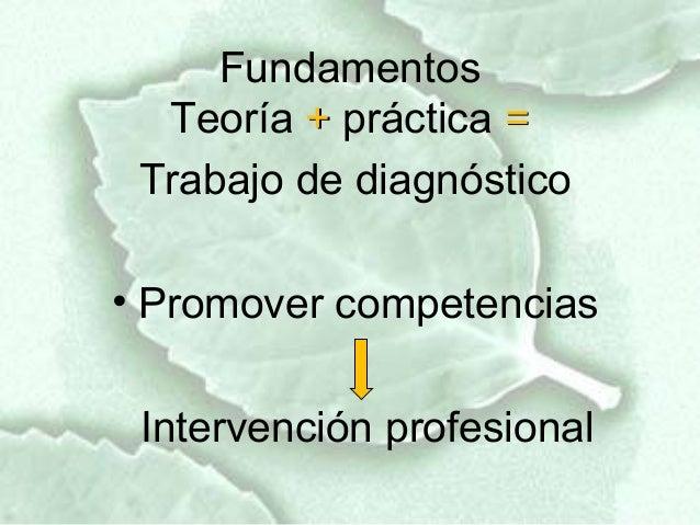 Fundamentos  Teoría + práctica = Trabajo de diagnóstico• Promover competencias Intervención profesional