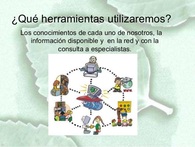 ¿Qué herramientas utilizaremos? Los conocimientos de cada uno de nosotros, la    información disponible y en la red y con ...
