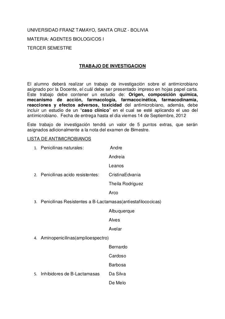 UNIVERSIDAD FRANZ TAMAYO, SANTA CRUZ - BOLIVIAMATERIA: AGENTES BIOLOGICOS ITERCER SEMESTRE                         TRABAJO...
