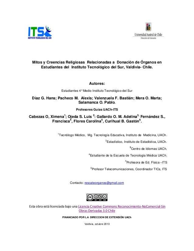 Mitos y Creencias Religiosas Relacionadas a Donación de Órganos en Estudiantes del Instituto Tecnológico del Sur, Valdivia...