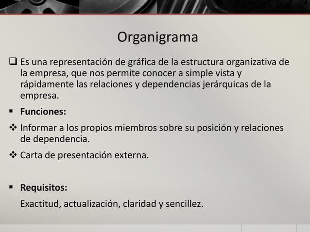 Organigrama  Es una representación de gráfica de la estructura organizativa de la empresa, que nos permite conocer a simp...