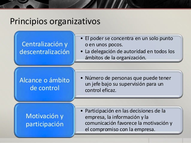 Principios organizativos Centralización y descentralización  • El poder se concentra en un solo punto o en unos pocos. • L...