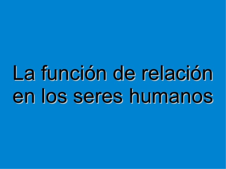 La función de relación en los seres humanos