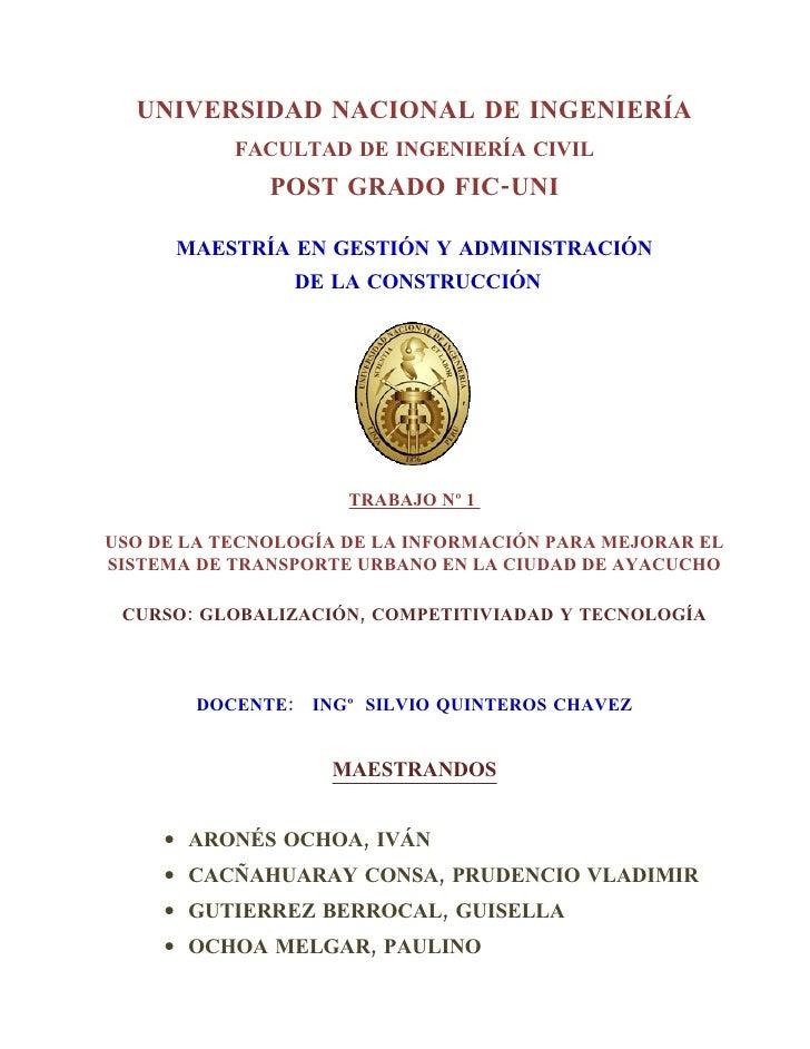 UNIVERSIDAD NACIONAL DE INGENIERÍA            FACULTAD DE INGENIERÍA CIVIL               POST GRADO FIC-UNI        MAESTRÍ...