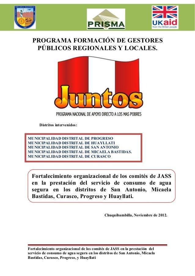 PROGRAMA FORMACIÓN DE GESTORES   PÚBLICOS REGIONALES Y LOCALES.      Distritos intervenidos:MUNICIPALIDAD DISTRITAL DE PRO...