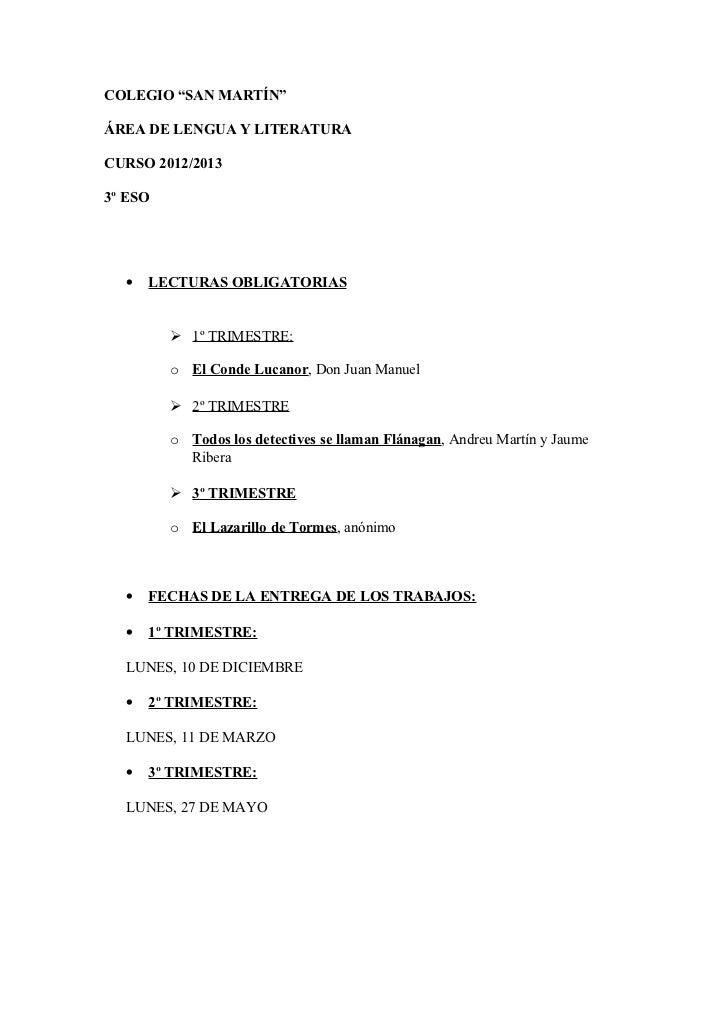 """COLEGIO """"SAN MARTÍN""""ÁREA DE LENGUA Y LITERATURACURSO 2012/20133º ESO  •   LECTURAS OBLIGATORIAS          1º TRIMESTRE:   ..."""