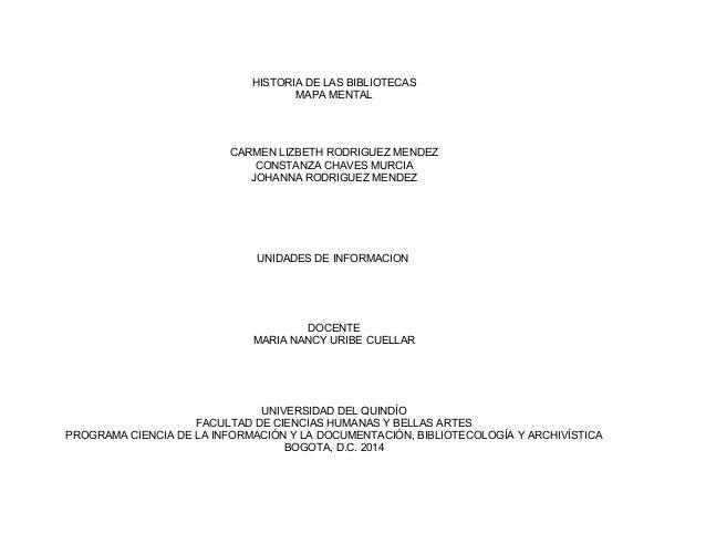HISTORIA DE LAS BIBLIOTECAS MAPA MENTAL  CARMEN LIZBETH RODRIGUEZ MENDEZ CONSTANZA CHAVES MURCIA JOHANNA RODRIGUEZ MENDEZ ...