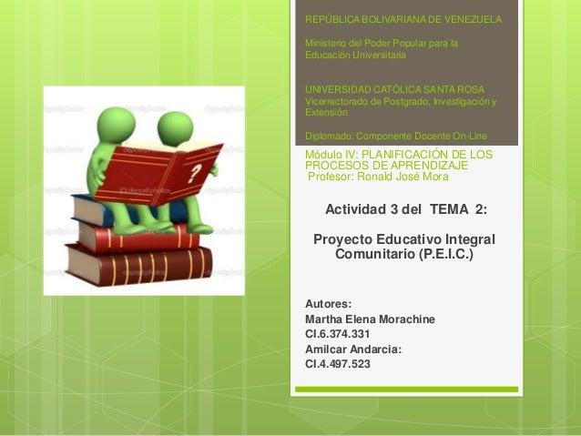 Proyecto De Educaci N Integral Comunitario