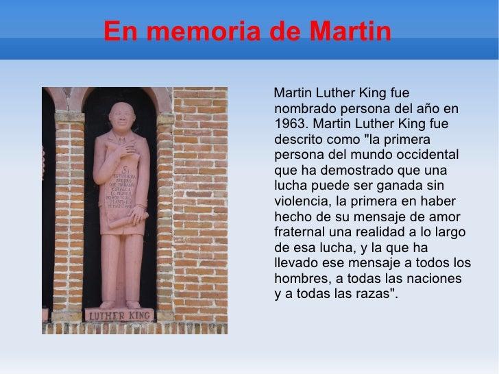"""En memoria de Martin Martin Luther King fue nombrado persona del año en 1963. Martin Luther King fue descrito como """"l..."""