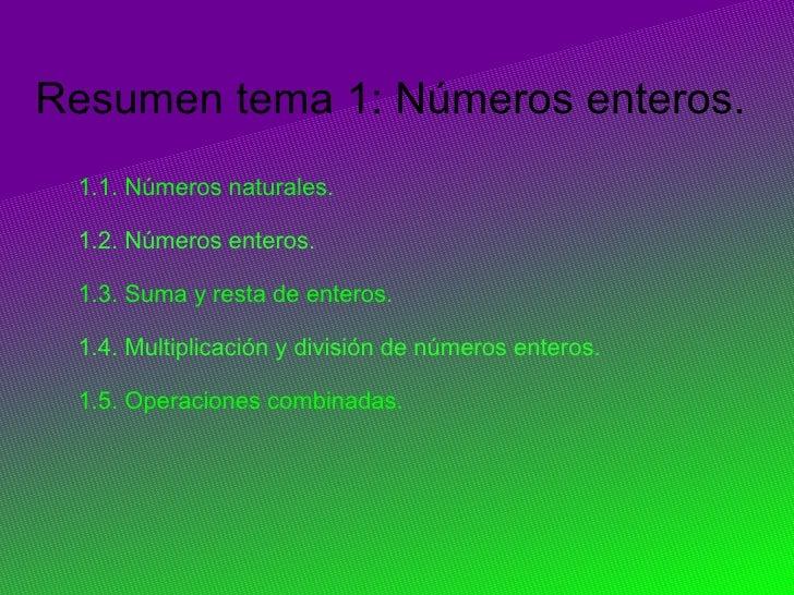. Resumen tema 1: Números enteros. 1.1. Números naturales.  1.2. Números enteros.  1.3. Suma y resta de enteros.  1.4. Mul...