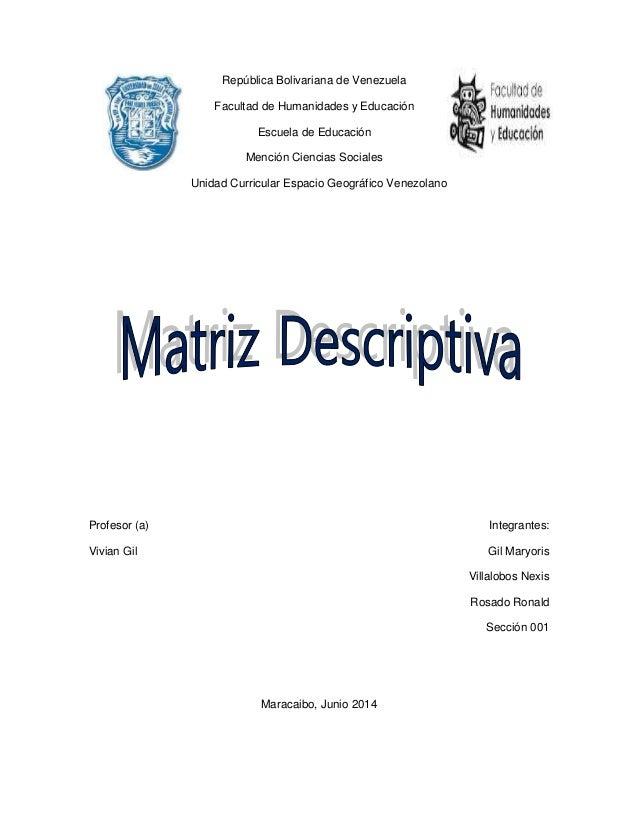 República Bolivariana de Venezuela Facultad de Humanidades y Educación Escuela de Educación Mención Ciencias Sociales Unid...