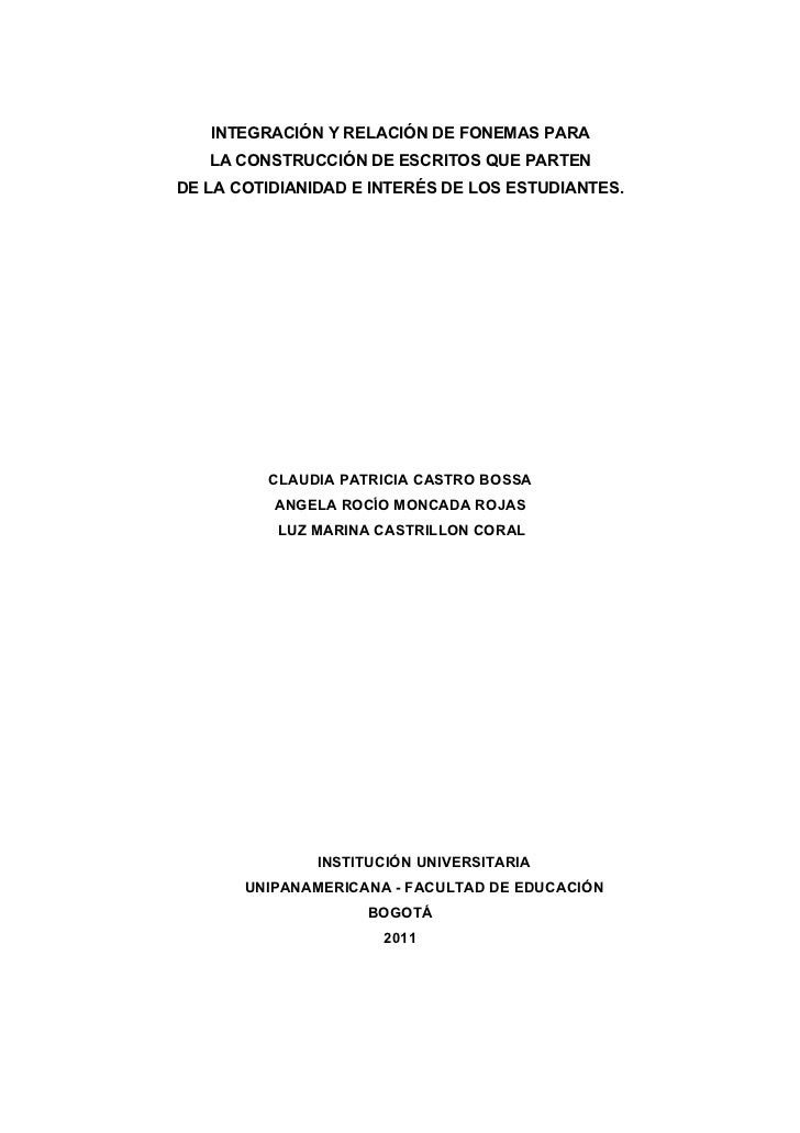 INTEGRACIÓN Y RELACIÓN DE FONEMAS PARA   LA CONSTRUCCIÓN DE ESCRITOS QUE PARTENDE LA COTIDIANIDAD E INTERÉS DE LOS ESTUDIA...