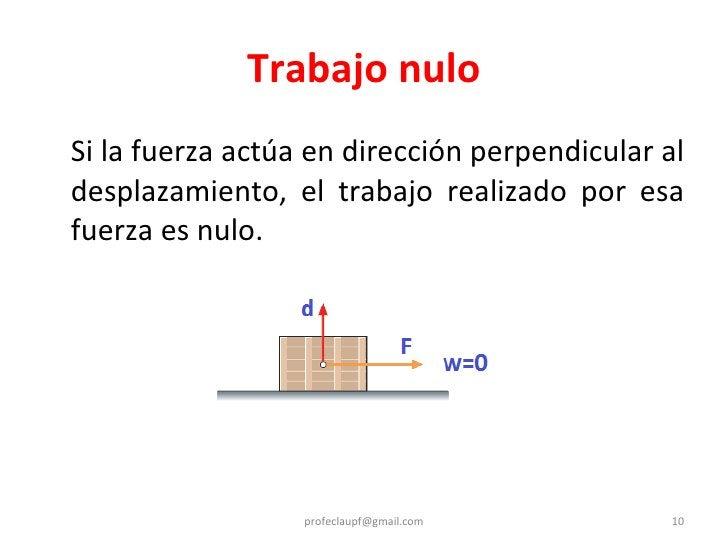 Trabajo nulo <ul><li>Si la fuerza actúa en dirección perpendicular al desplazamiento, el trabajo realizado por esa fuerza ...