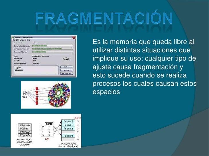fragmentación<br />Es la memoria que queda libre al utilizar distintas situaciones que implique su uso; cualquier tipo de ...