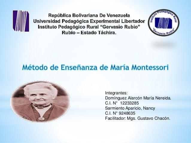 Integrantes: Domínguez Alarcón María Nereida. C.I. N° 12233285 Sarmiento Aparicio, Nancy C.I. N° 9248635 Facilitador: Mgs....
