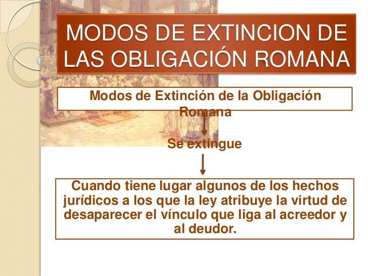 MODOS DE EXTINCION DELAS OBLIGACIÓN ROMANA    Modos de Extinción de la Obligación                 Romana                 S...