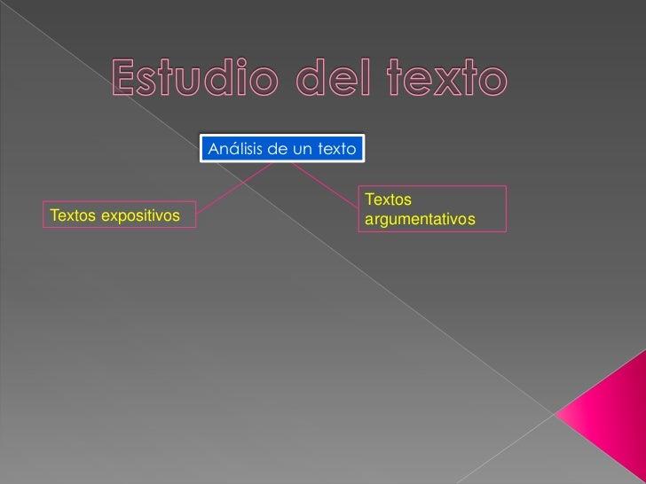 Estudio del texto<br />Análisis de un texto<br />Textos argumentativos<br />Textos expositivos<br />
