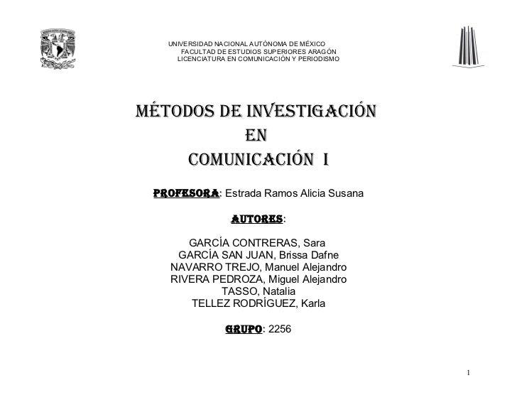 UNIVERSIDAD NACIONAL AUTÓNOMA DE MÉXICO       FACULTAD DE ESTUDIOS SUPERIORES ARAGÓN      LICENCIATURA EN COMUNICACIÓN Y P...