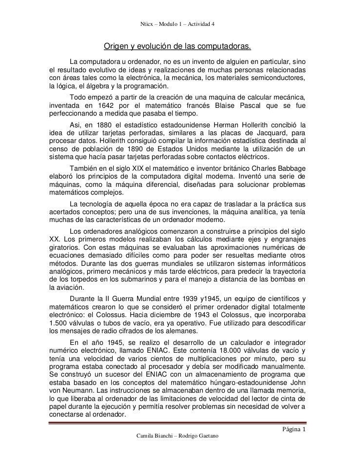 Nticx – Modulo 1 – Actividad 4                 Origen y evolución de las computadoras.        La computadora u ordenador, ...