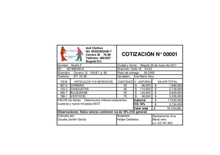 Anii Clothes                    Nit. 95022803639-7                    Carrera 30 76-80         COTIZACIÓN N° 00001        ...