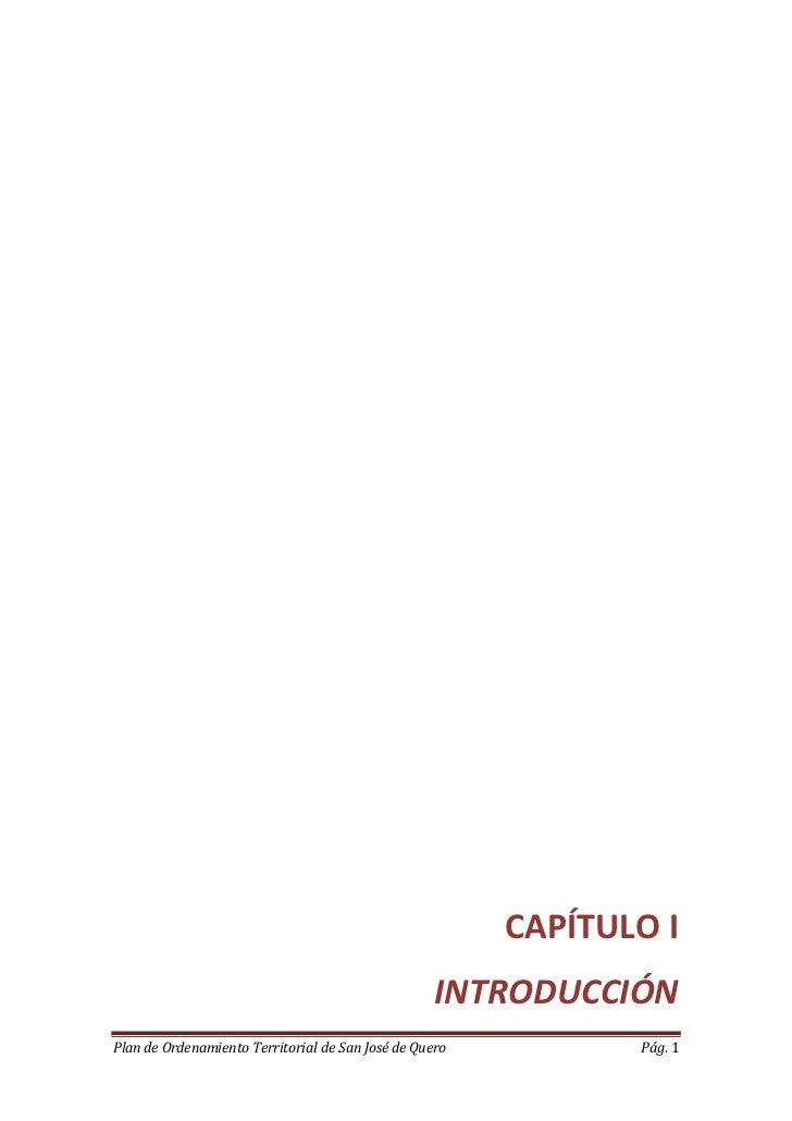 CAPÍTULO I                                                   INTRODUCCIÓNPlan de Ordenamiento Territorial de San José de Q...