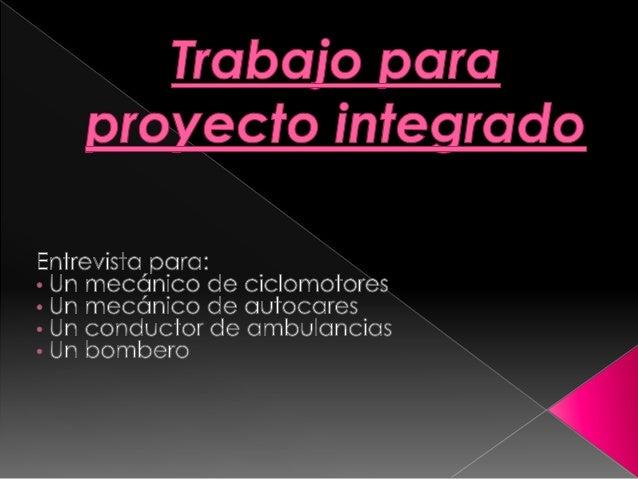 Trabajo para proyecto integrado