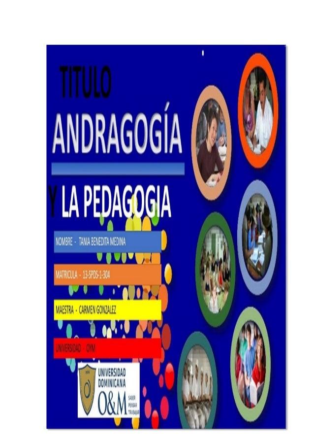 SUBTEMA CONCEPTO DE ANDRAGOGIA Y PEDAGOGIA Andragogia. Dirigido a mayores de edad. Pueden tomar sus propias decisiones. No...