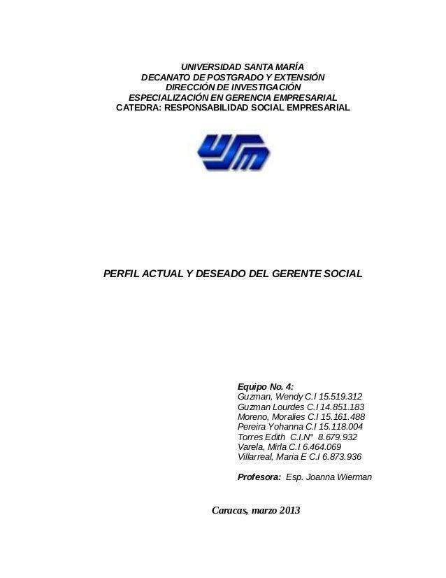 UNIVERSIDAD SANTA MARÍA      DECANATO DE POSTGRADO Y EXTENSIÓN           DIRECCIÓN DE INVESTIGACIÓN    ESPECIALIZACIÓN EN ...