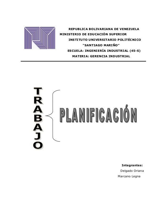 """REPUBLICA BOLIVARIANA DE VENEZUELA  MINISTERIO DE EDUCACIÓN SUPERIOR  INSTITUTO UNIVERSITARIO POLITÉCNICO  """"SANTIAGO MARIÑ..."""