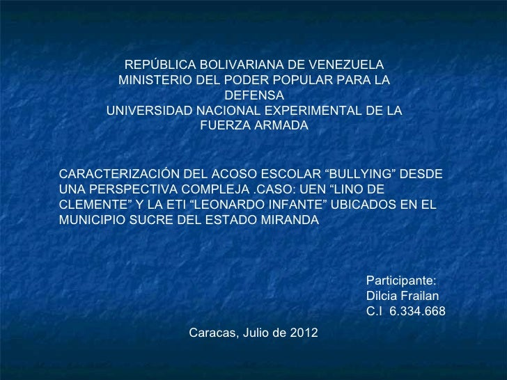 REPÚBLICA BOLIVARIANA DE VENEZUELA       MINISTERIO DEL PODER POPULAR PARA LA                      DEFENSA      UNIVERSIDA...
