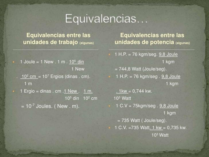 Equivalencias entre las unidades de trabajo (algunas) <br /> 1 Joule = 1 New . 1 m . 105  din <br />                      ...
