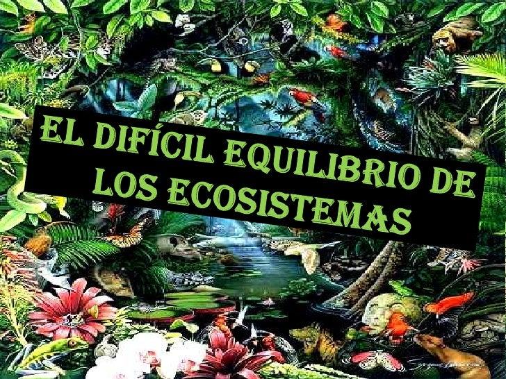 EL DIFÍCIL EQUILIBRIO DE LOS ECOSISTEMAS<br />