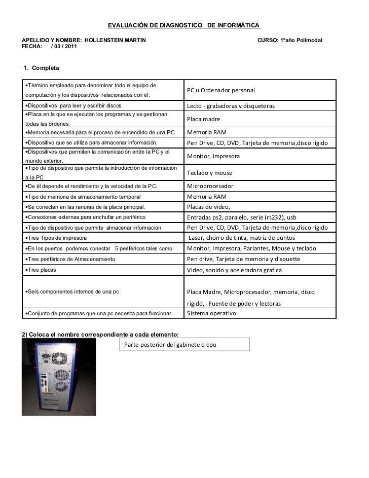 EVALUACIÓN DE DIAGNOSTICO DE INFORMÁTICAAPELLIDO Y NOMBRE: HOLLENSTEIN MARTIN                                             ...