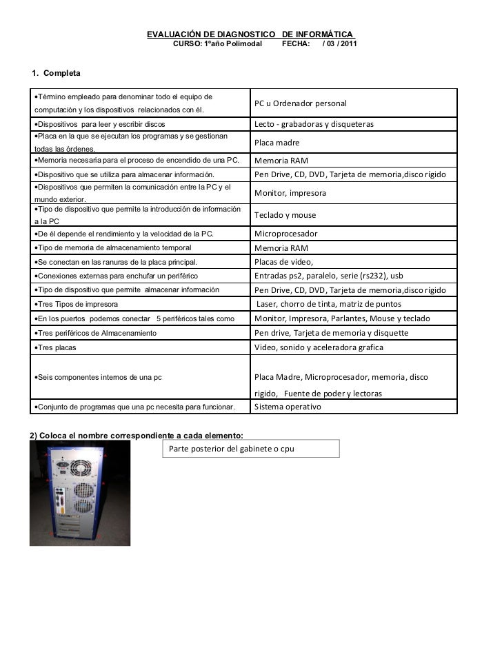 EVALUACIÓN DE DIAGNOSTICO DE INFORMÁTICA                                              CURSO: 1ºaño Polimodal       FECHA: ...