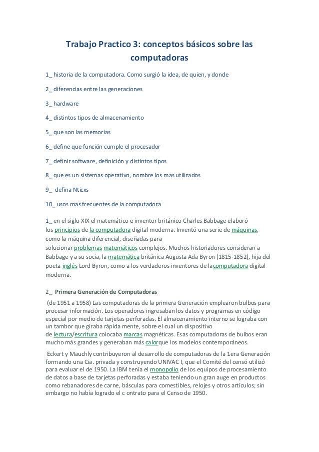 Trabajo Practico 3: conceptos básicos sobre las                        computadoras1_ historia de la computadora. Como sur...