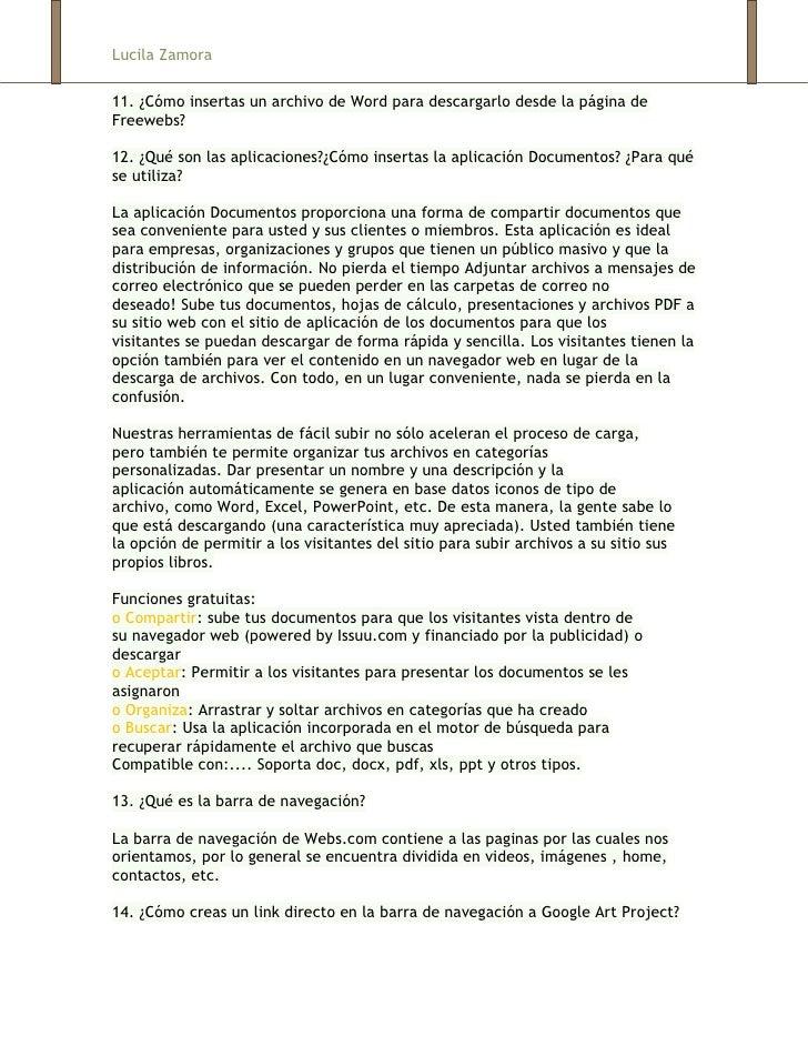 Lucila Zamora11. ¿Cómo insertas un archivo de Word para descargarlo desde la página deFreewebs?12. ¿Qué son las aplicacion...