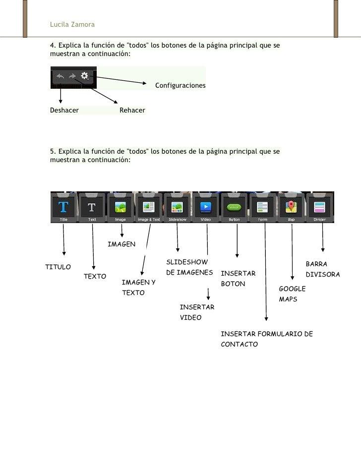 """Lucila Zamora 4. Explica la función de """"todos"""" los botones de la página principal que se muestran a continuación:         ..."""