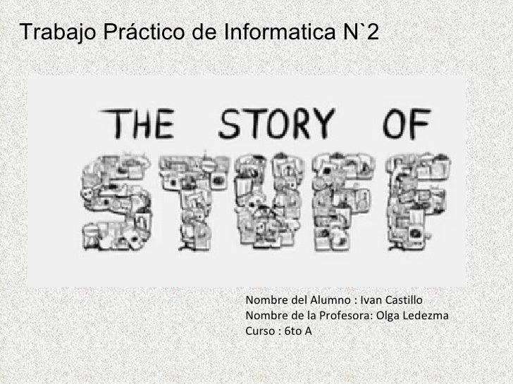 Trabajo Práctico de Informatica N`2                     Nombre del Alumno : Ivan Castillo                     Nombre de la...