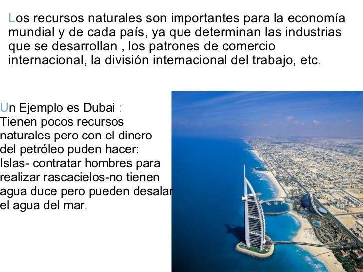 L os recursos naturales son importantes para la economía mundial y de cada país, ya que determinan las industrias que se d...