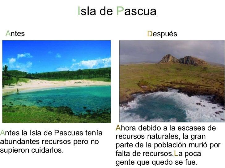 I sla de  P ascua  <ul><li>A ntes </li></ul>D espués A ntes la Isla de Pascuas tenía abundantes recursos pero no supie...