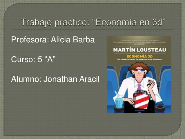 "Profesora: Alicia Barba  Curso: 5 ""A""  Alumno: Jonathan Aracil"